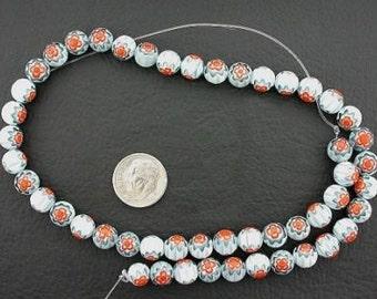 8mm  turquoise / white / orange flower glass beads