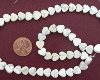 8mm heart gemstone white howlite beads