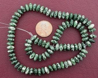 "8mm rondelle gemstone green spot agate beads 15"" strand"