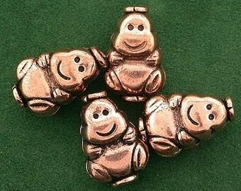 4 pure copper happy monkey gorilla casted designer bead