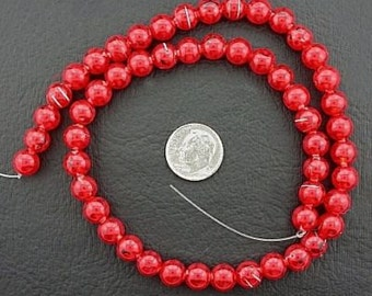 8mm rich red round glass bead 15 inch strand