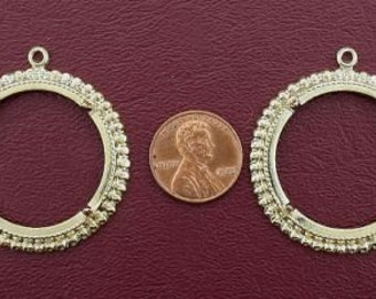 two gold plated 50 cent coin mounting