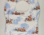 White and Blue Bib with Teddy Bears and Toys