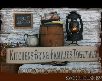 Kitchens Bring Families Together Primitive Smokehouse Stenciled Sign Decor