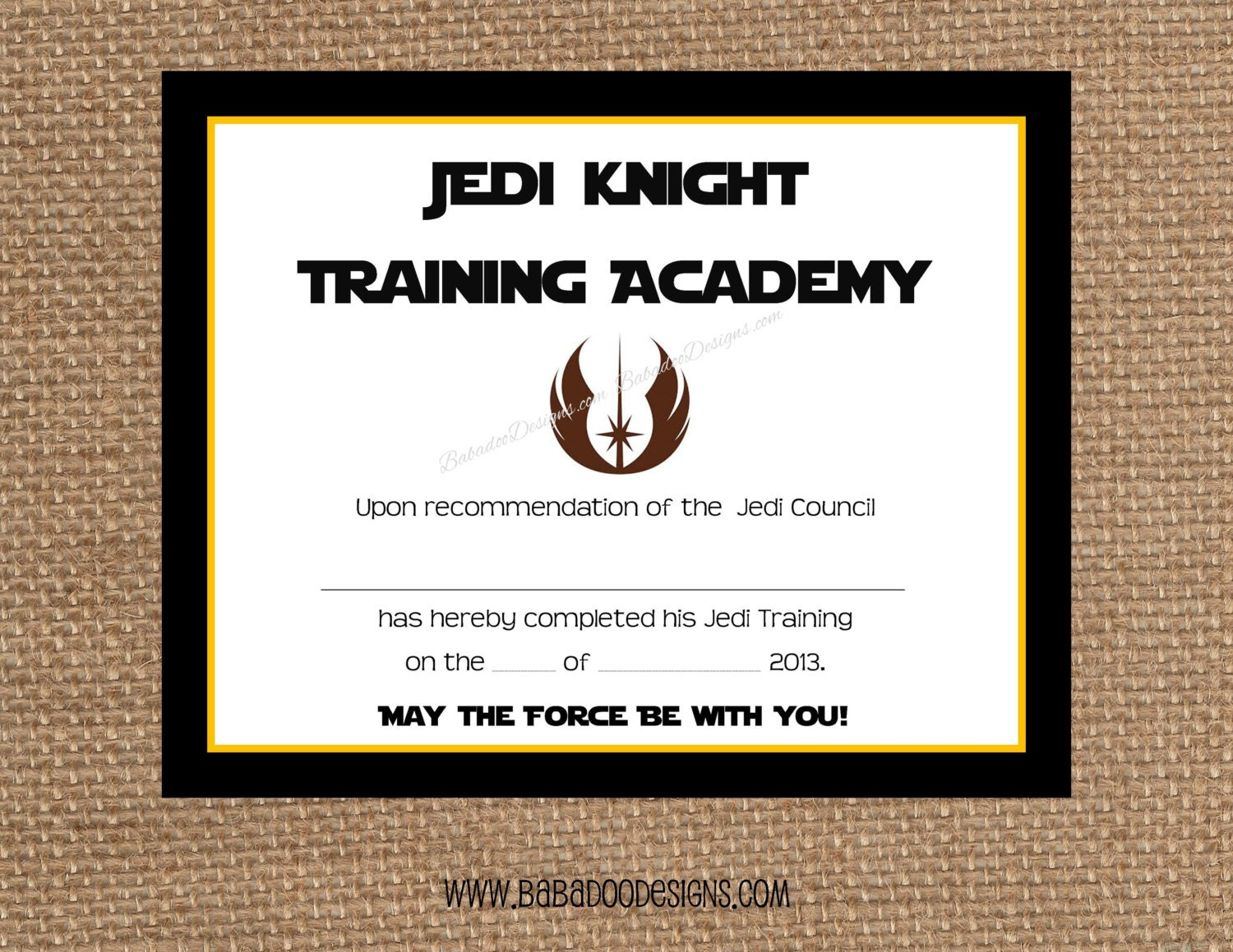 Jedi training certificate instant download full service for Jedi certificate template free