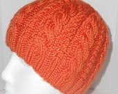 Camilla Cable Hat in Tangerine