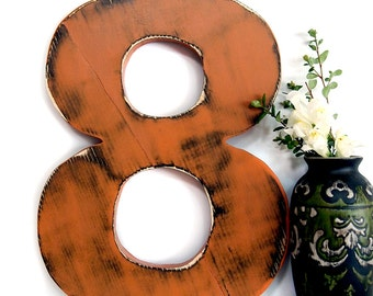 Number 8  in Rust Pine Wood Sign Wall Decor Kids Birthday Party Decor Birthday Number Photo Prop