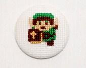 Legend of Zelda Link Pinback Button, Nintendo Badge, Retro 8 Bit Nerdy Video Game Gift