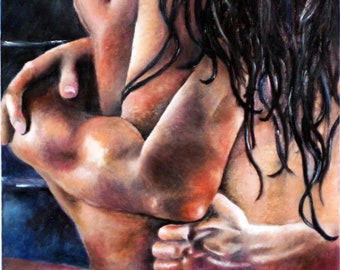Original Oil Painting by Lindsey - Shower Scene - Fifty Shades of Grey - Intimate Embrace - Sexy - Wet - Nude - Valentine's Day Gift