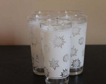 Set of 5 Frosted Snowflake Beverage Glasses