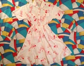 Peter Pan print shirt and skirt combo in white and red