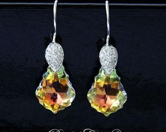 Bridal Earrings, Swarovski Crystal Earrings, Drop Dangle Bridal Earrings, Bridal Baroque Crystal Earrings, Sterling Silver Earrings