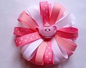 pink, white, pink/wite polka dot tea pot bow