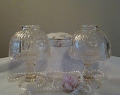 Pair of Vintage Pressed Glass Tea Light Candle Lamp