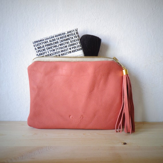 Natural leather pouch, mini clutch, make up bag - natural pink leather