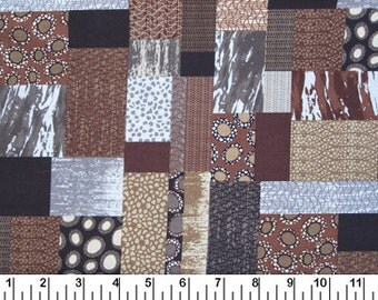 Brown Patchwork Print - Half Yard