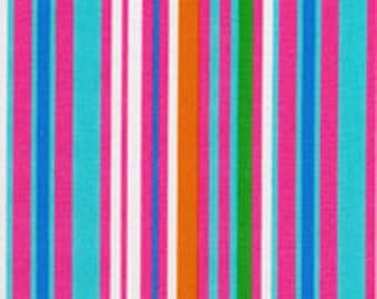 Fat Quarter Aqua/ Hot Pink Stripe from RJR Fabrics Crazy for Dots & Stripes