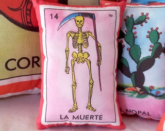 Muerte (Death / Skeleton) Mexican Loteria Mini Pillow - Dia De Los Muertos, Party Favor, Lavender Sachet, Mexico Chic