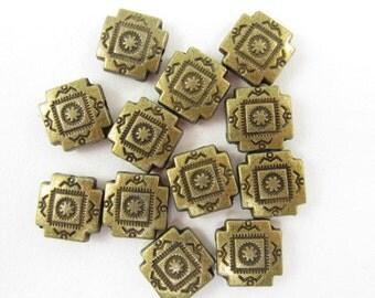 12pcs 10mm Southwest Cross Bronze Color Beads (F681)