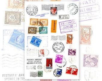 Old Italian Postmarks and Stamps Digital Collage Sheet for Scrapbooking Altered Art Victorian Style / CS17