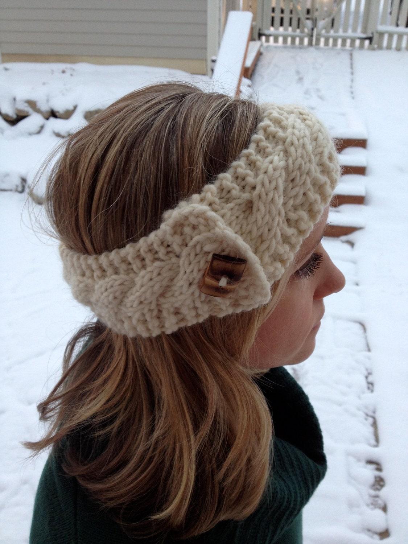 Chunky Cable Knit Headband Ivory