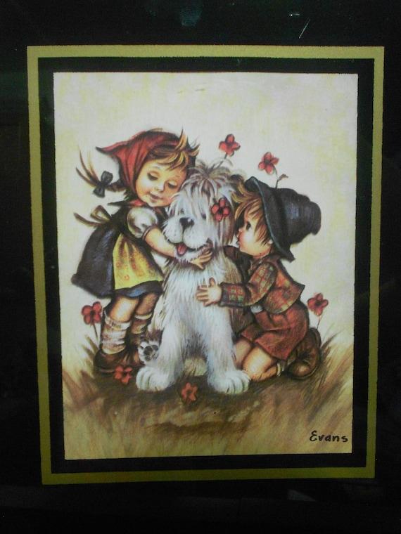 "Vintage 1940's ""Girl And Boy Hugging White Shaggy Dog"" Art by Evans With Glass & Frame Childrens Room VINTAGE ART"