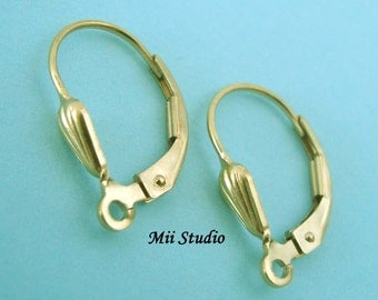 6pcs 14k gold filled Shell Leverback with open ring E09g