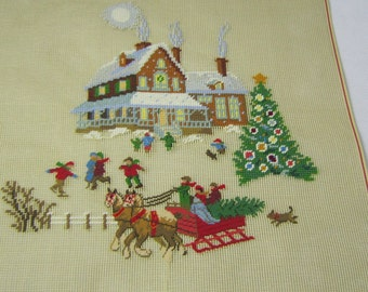 """18"""" Square Preworked Needlepoint Canvas Christmas Eve Design Finished"""