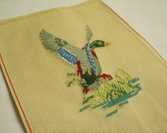 Preworked Needlepoint Canvas Duck Petit Point Design Finished