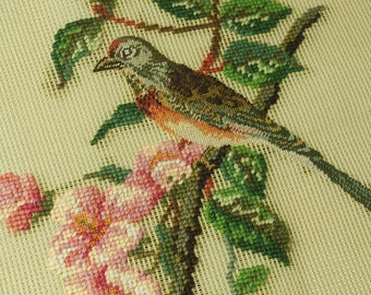 Preworked Needlepoint Canvas Bird on branch Design Finished Petit Point