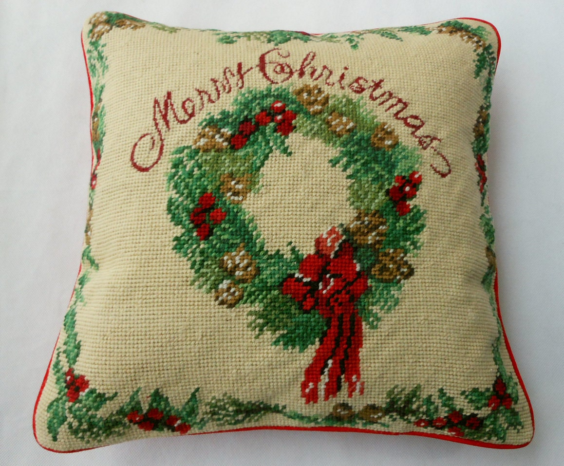 Completed Needlepoint Pillow Cover Cushion Merry Christmas
