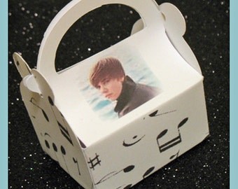 Justin Bieber party favor boxes, Justin Beiber birthday favors