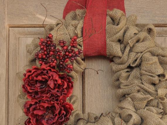 Christmas Peony WreathChristmas Burlap WreathChristmas
