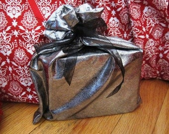 Shiny Silver Reusable Christmas Fabric Gift Wrap with Sheer Black Ribbon Tie