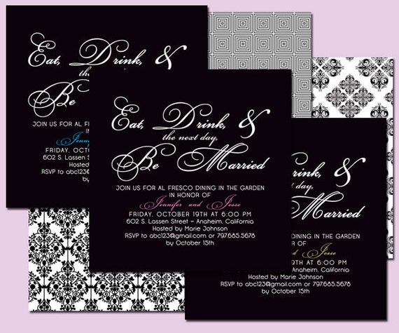 Black and White Elegant Rehearsal Dinner Invitation