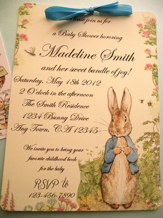 Items similar to Peter Rabbit Vintage Style Baby Shower or Birthday Party Invitation Book Shower ...