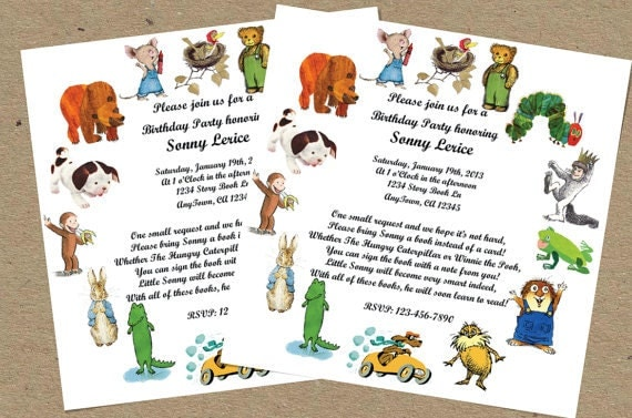 storybook favorites birthday party or baby shower invitation golden