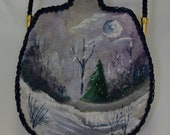 Hand painted purse with winter evening scene.