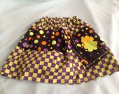 Fall or Halloween Skirt with Green, Purple, Black, Orange,and ellow