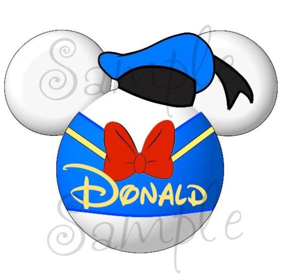 Donald Duck character inspired DIGITAL Printable Mickey head