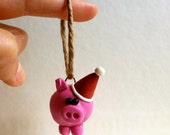 Pig with a Santa Hat Ornament- Polymer Clay