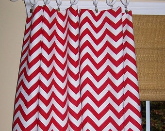 Red CHEVRON CURTAINS - Red Curtains - Red Zig Zag - Pair Curtain Panels - Premier Prints - Window Treatment - Custom Drapes
