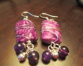 Genuine Sugilite and Amethyst Earrings in Sterling Silver Wire - Sterling Silver Earwires