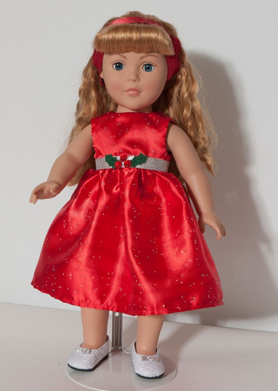American girl doll christmas dress for 18 inch doll