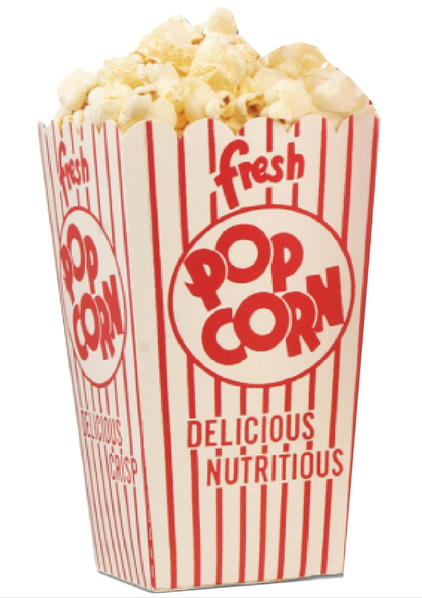Red and White Retro Popcorn Boxes Set of 6