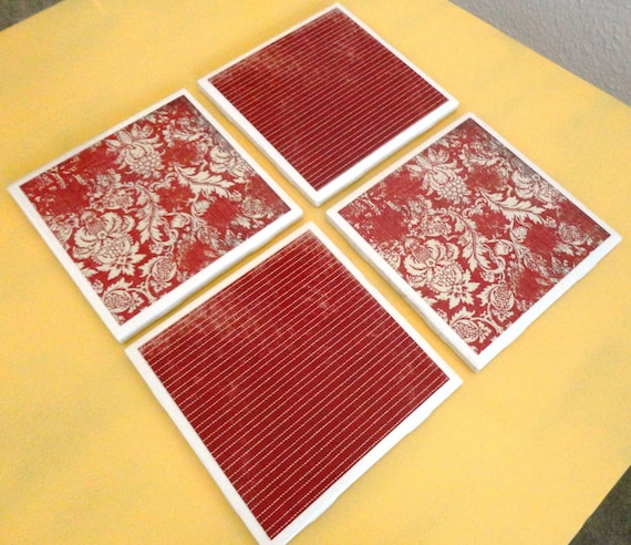 Vintage Red: Set of 4 Handcrafted Ceramic Coasters