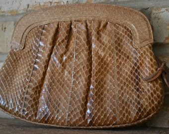 Vintage Authentic Snake Skin and Leather Designer Tan Camel Colored Trendy Clutch