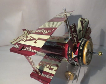 Airplane Whirl-A-Gig Made From 16 oz Yuengling Lager Beer Cans