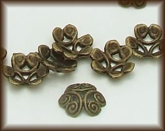 Brass Bead Caps, 10 Antiqued Brass 12mm, Jewelry making supplies, spiral design brass bead cap, scroll work bead cap, large brass bead cap