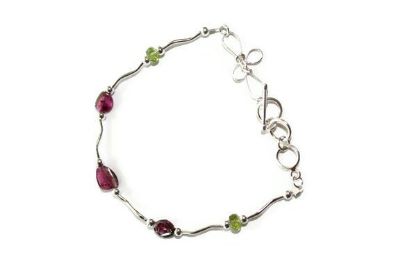 Watermelon Tourmaline Bracelet, Peridot, Sterling Silver, August Birthstone, Pink, Green, Jewelry